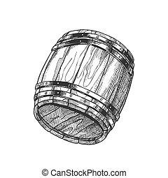 古い, 木製である, オーク, ベクトル, 引かれる, 樽, 飲料