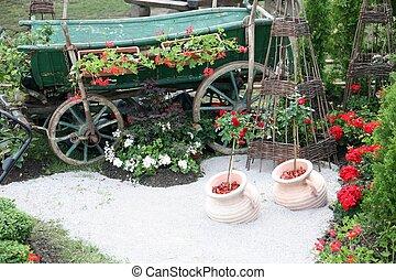 古い, 木製である, カート, ∥で∥, 花