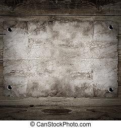 古い, 木製である, ポスター, 西部, 背景, 望まれる