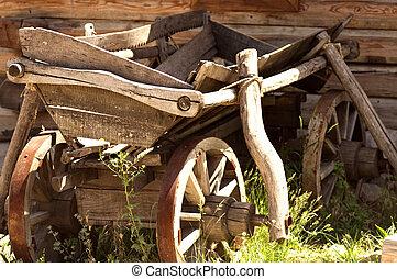 古い, 木製である, ワゴン