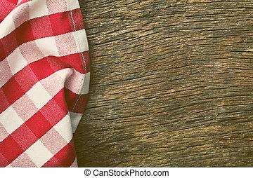 古い, 木製である, 上に, テーブル, テーブルクロス, 赤