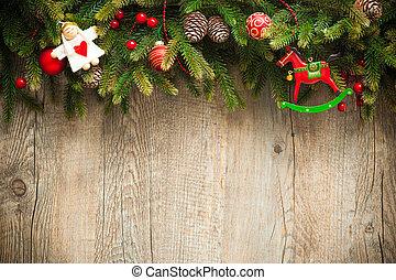 古い, 木製である, 上に, 装飾, 背景, クリスマス