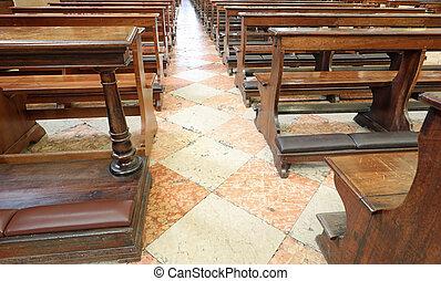 古い, 木製である, 中, 席, 教会, 空