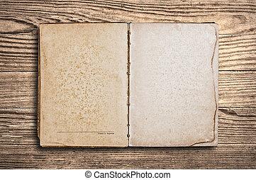 古い, 木製である, 型, 上に, 本, テーブル。