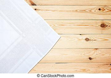古い, 木製である, 型, 上, tablecloth., テーブル, 白, mockup., 光景