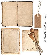 古い, 木製である, 型, 道具, 料理の本, ページ, 台所