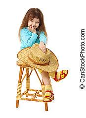 古い, 木製である, 子供, 椅子, 座る, 帽子