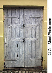 古い, 木製である, 汚い, 玄関, 白