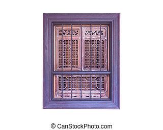 古い, 木製である, 窓枠