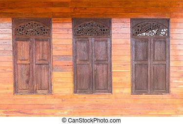 古い, 木製である, 窓