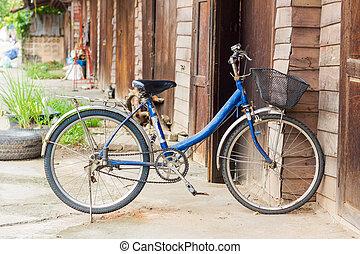 古い, 木製の壁, 自転車, 前部, 家