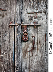古い, 木製の家, ナンキン錠, 錆ついた, ドア