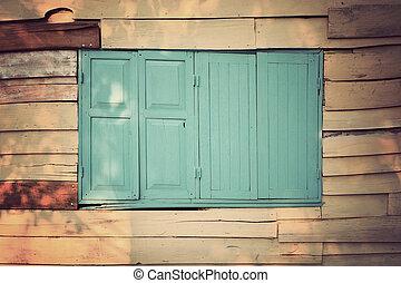 古い, 木製の家, 手ざわり, 壁, 窓。, 背景