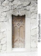 古い, 木製の戸, 中に, a, 教会