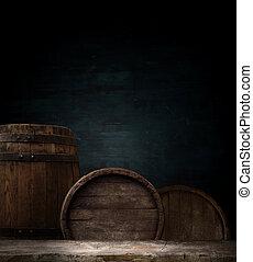 古い, 木, テーブルの 上, ∥で∥, 煙, 暗やみに, バックグラウンド。