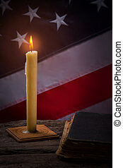 古い, 本, candle., 燃焼