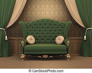 古い, 枕, luxe., ソファー, interior., 贅沢, ひだのある布, スタイルを作られる, カーテン,...
