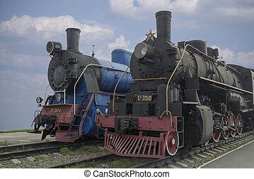 古い, 機関車, men-steam