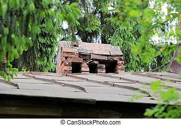 古い, 民族, れんが, chimneyes, 上に, 屋根