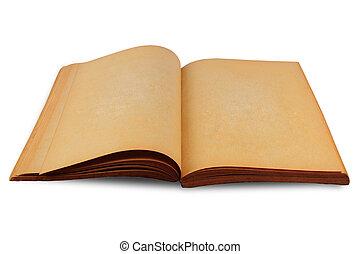 古い, 汚された, 黄色, 本, ブランク, ページ