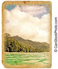 古い, 海洋, postcard., 海岸, 浜。