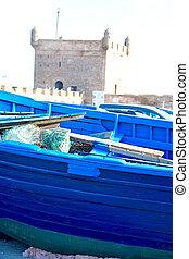 古い, 港, 抽象的, アフリカ, モロッコ, 木, 桟橋, ボート