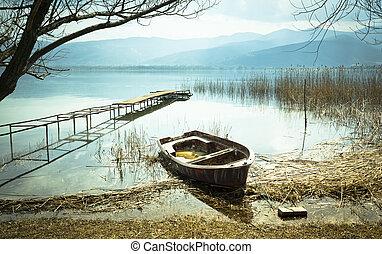 古い, 湖, ボート