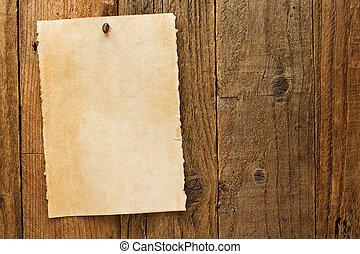古い, 無作法, 年を取った, 望まれる, カウボーイ, 印, 上に, 羊皮紙