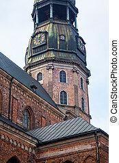 古い 町, 時計, st. 。, 有名, ラトビア, 教会, riga, タワー, ピーター