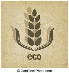 古い, 穀粒, 有機体である, 背景