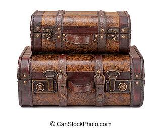 古い, 積み重ねられた, 2, スーツケース