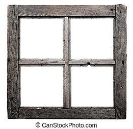 古い, 窓枠, 隔離された, 白, バックグラウンド。
