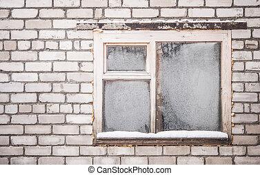 古い, 窓, の, ∥, 古い, 家, 中に, ∥, garden.