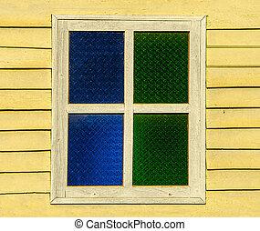 古い, 窓, 上に, 木, 壁