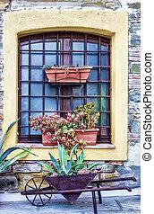 古い, 窓, 中に, トスカーナ, イタリア