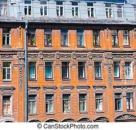 古い, 窓, 家, st. 。, 通り, pushkin, petersburg