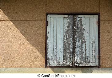 古い, 窓, 木, 上に, 壁