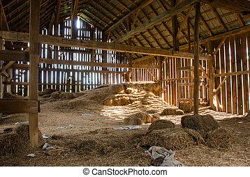 古い, 納屋, フルである, の, 干し草