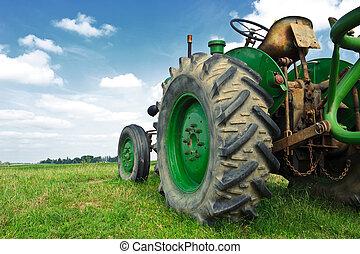古い, 緑, トラクター