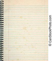 古い, 罫線付きのペーパー, 中に, a, notepad.