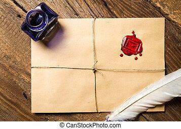 古い, 羽, 封筒, 封ろう, そして, インク, びん