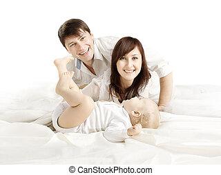 古い, 肖像画, 家族, 人々, 父, 上に, 母, 息子, 1(人・つ), 親, 背景, 年, 白, 幸せ, 赤ん坊, 子供