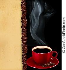 古い, 背景, カップ, vector., paper., コーヒー