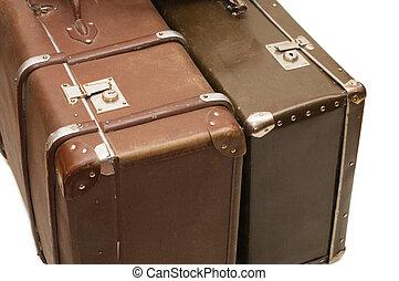 古い, 背景, 隔離された, スーツケース, 2, 白