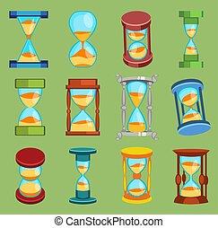 古い, 腕時計, 二番目に, デザイン, 測定, 道具, 砂時計, アイコン, セット, 秒読み, sandglass, 平ら, オブジェクト, 腕時計, イラスト, ガラス, 分, 時間, 時計, 流れ, タイマー, 砂, ベクトル, 時間, sand-clocks, 歴史