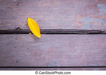 古い, 葉, 木, グランジ