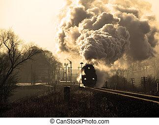 古い, 蒸気の 列車, レトロ