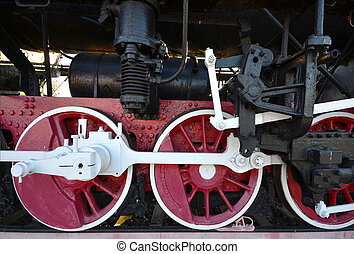 古い, 蒸気, 棒, 車輪, 機関車