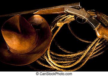 古い, 西部, 静かな 生命, ∥で∥, 銃, ロープ, そして, カウボーイ帽子, 上に, a, 暗い, バックグラウンド。