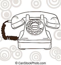 古い, 見なさい, 型, -, 電話, イラスト, レトロ